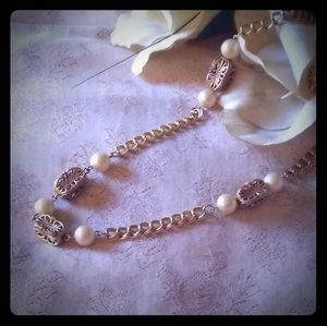 Vintage Filigree Bead & Faux Pearl Station Necklac
